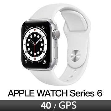 Apple Watch S6 GPS 40/銀鋁/白運動錶帶