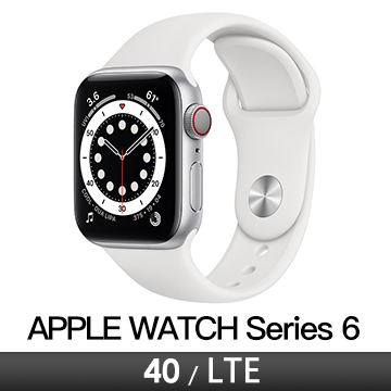 Apple Watch S6 LTE 40/銀鋁/白運動錶帶 M06M3TA/A