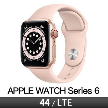 Apple Watch S6 LTE 44/金鋁/粉沙運動錶帶
