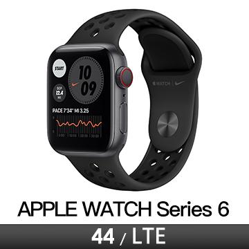 Apple Watch S6 Nike+ LTE 44/灰鋁/黑底黑洞運動錶帶 M09Y3TA/A
