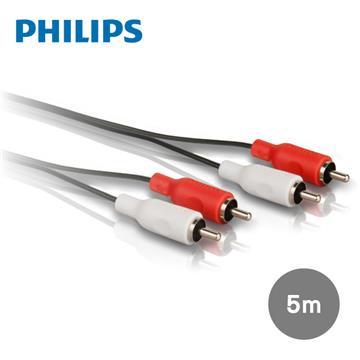 飛利浦PHILIPS 5.0m 2RCA/2RCA立體音源線 紅白