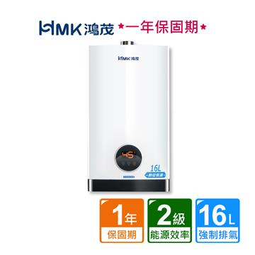 HMK 鴻茂智能恆溫強排瓦斯熱水器16L