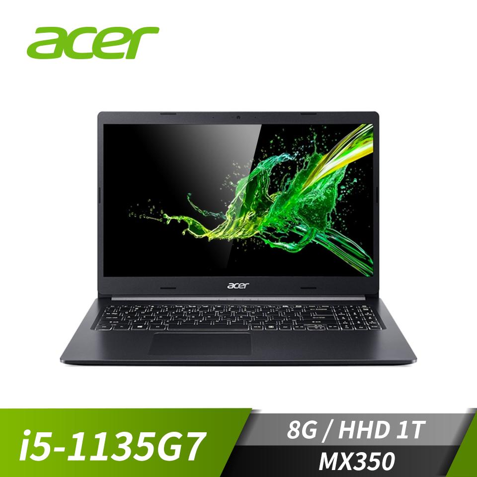 宏碁ACER Aspire 5 筆記型電腦 黑(i5-1135G7/8G/1T/MX350/W10)