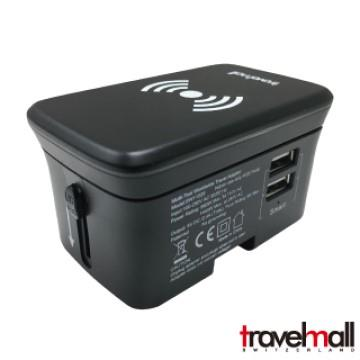 TravelMall雙USB旅行轉換器+10W無線充電板