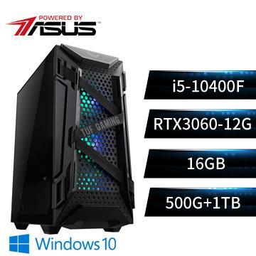 PBA華碩平台[軍魂武者]i5六核獨顯Win10電腦(i5-10400F/16G/RTX3060/500G+1T/W10)