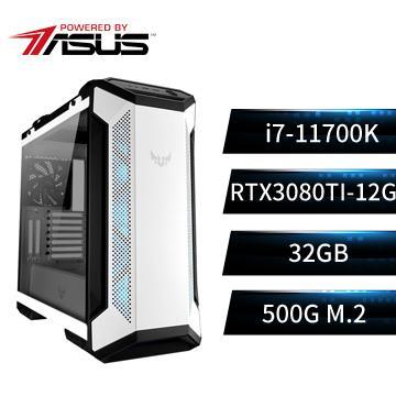 PBA華碩平台[雪風狂神]i7八核獨顯水冷電腦(i7-11700K/Z590/32G/RTX3080Ti/500G)