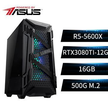 PBA華碩平台[闇風狂神]R5六核獨顯SSD電腦(R5-5600X/B550M/16G/RTX3080Ti/500G)