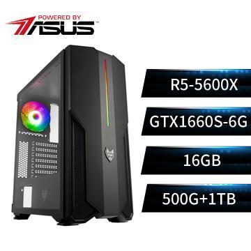 PBA華碩平台[幻世狂神]R5六核獨顯SSD電腦(R5-5600X/B550M/16G/GTX1660S/500G+1T)