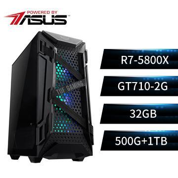 PBA華碩平台[輝夜戰熊]R7八核獨顯SSD電腦(R7_5800X/X570-P/32G/GT710/500G+1T)