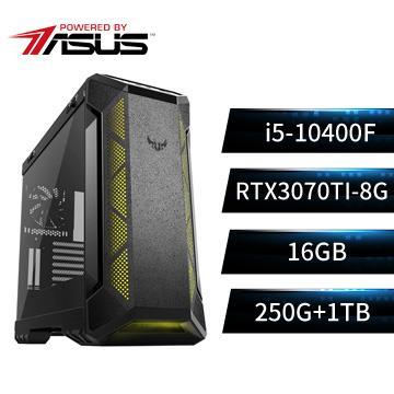 PBA華碩平台[神虎至尊]i5六核獨顯雙碟電腦(i5-10400F/B560M/16G/RTX3070Ti/250G+1T)