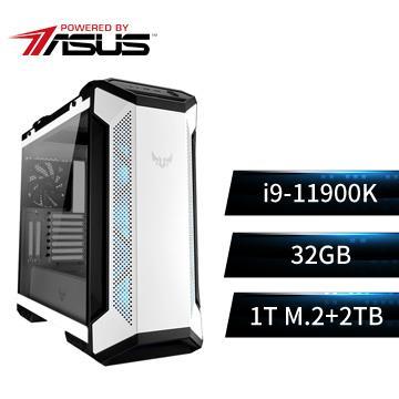 PBA華碩平台[雪霸戰神]i9八核效能SSD電腦(i9-11900K/Z590/32G/1T+2T)