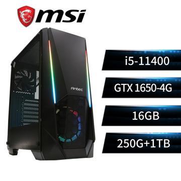 MSI微星平台[鷹林鬥士]i5六核獨顯SSD電腦(i5-11400/B560/16G/GTX1650/250G+1T)