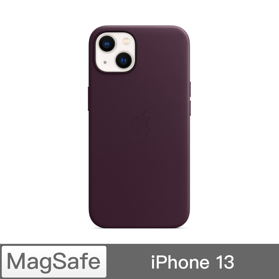 iPhone 13 MagSafe 皮革保護殼-暗櫻桃色