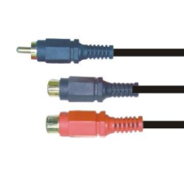 大通3.5mm立體公頭轉3.5立體母座*2轉接線