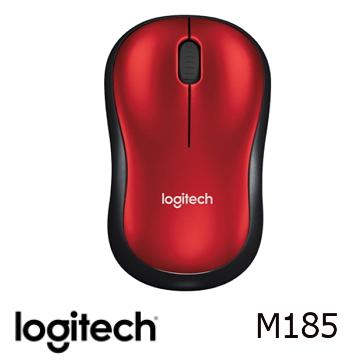 (限定款)Logitech羅技 M185 無線滑鼠 黑紅色(910-002501)