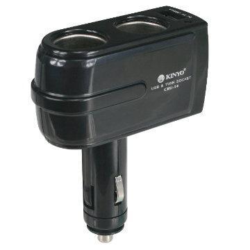 KINYO車用點煙器擴充座+USB充電