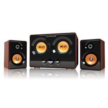 (福利品)JS淇譽 震天雷-雙重低音全木質三件式多媒體喇叭