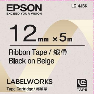 Epson 12mm 緞帶米底黑字 LC-4JBK