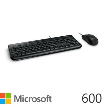 微軟Microsoft 600 標準滑鼠鍵盤組 黑色