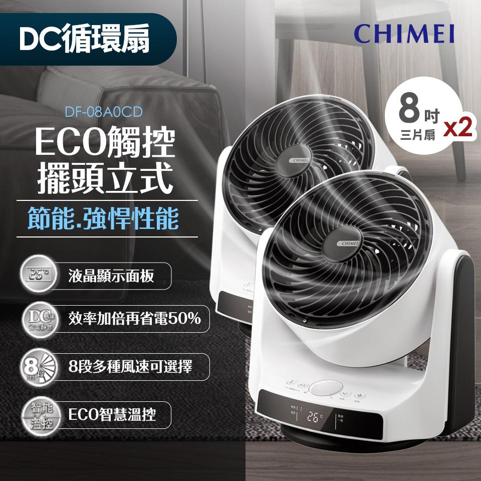 (兩入組)奇美CHIMEI 8吋DC直流3D擺頭循環扇