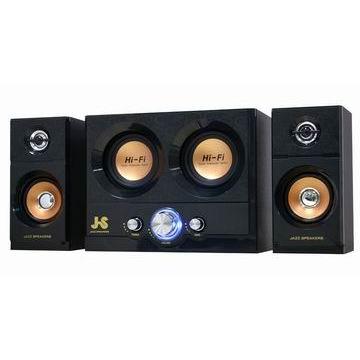(福利品)JS淇譽 雷霆雙重低音全木質三件式喇叭