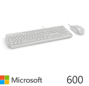 微軟 Microsoft 標準滑鼠鍵盤組 600 - 白色