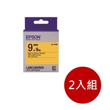 (2入組)愛普生EPSON LK-3YBP 粉彩系列黃底黑字標籤帶