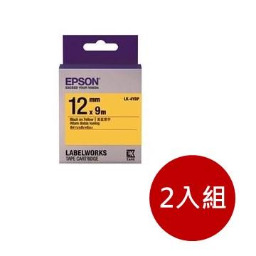 (2入組)愛普生EPSON LK-4YBP 粉彩系列黃底黑字標籤帶