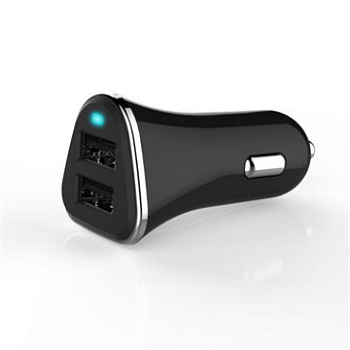 Q PNP 2.4A雙USB車充-黑