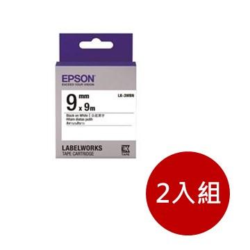 (2入組)愛普生EPSON LK-3WBN 白底黑字標籤帶