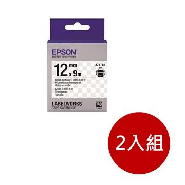 (2入組)愛普生EPSON LK-4TBN 透明系列透明底黑字標籤帶