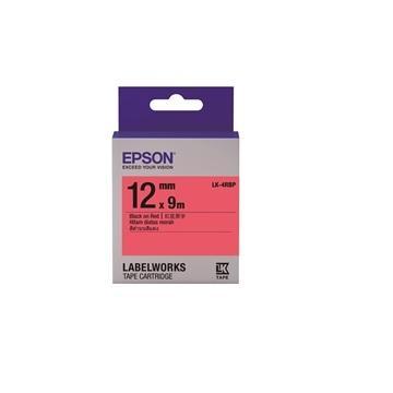 EPSON LK-4RBP粉彩系列紅底黑字標籤帶
