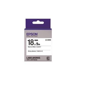 EPSON LK-5WBW高黏性系列白底黑字標籤帶