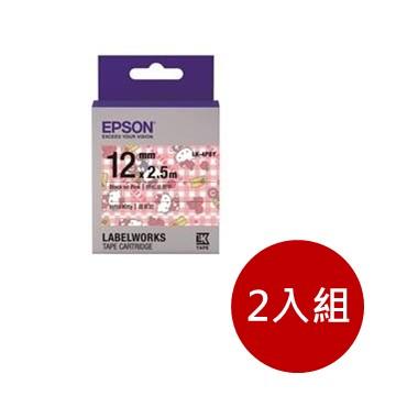 (2入組)愛普生EPSON LK-4PBY Kitty系列粉紅底黑字標籤帶