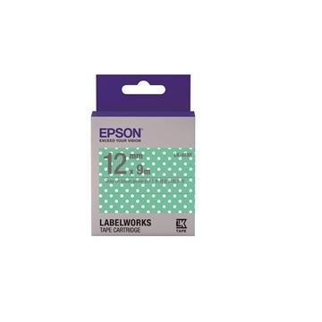 EPSON LK4FAY點紋系列粉綠白點底灰字標籤帶
