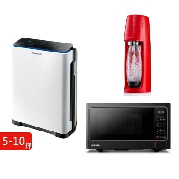 (超值組合) 清淨微波氣泡3件組-Honeywell 5-10坪清淨機+TOSHIBA燒烤微波爐+sodastream氣泡水機(紅)