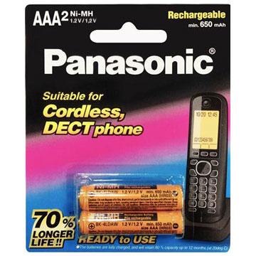 國際牌Panasonic 無線電話專用4號鎳氫充電電池 2入