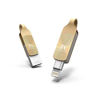 【32G】ADAM MFi認證 OTG旋轉式雙用碟-金
