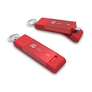 【128G】 亞果元素 ADAM  MFi認證 OTG不掉蓋雙用碟 - 紅色