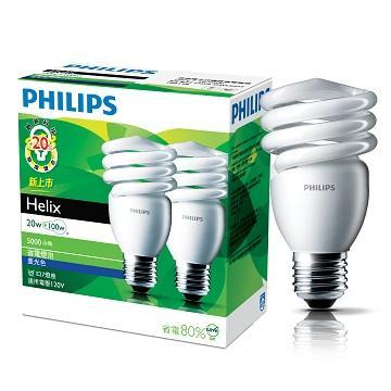 飛利浦 HELIX T2 20W省電燈泡-白光(2入)