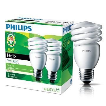 飛利浦 HELIX T2 20W省電燈泡-黃光(2入)