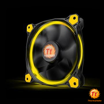 Tt曜越 Riing 12CM LED高風壓水冷排風扇 黃光