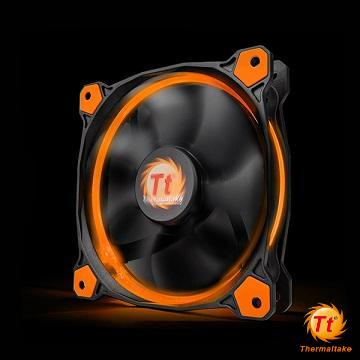 Tt曜越 Riing 14CM LED高風壓水冷排風扇 橘光