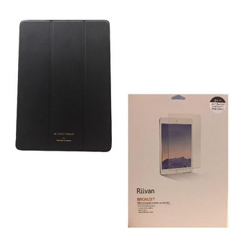 "【9.7""】M.CRAFTSMAN iPad極輕薄保護套-黑 + Riivan亮面保護貼 套組"