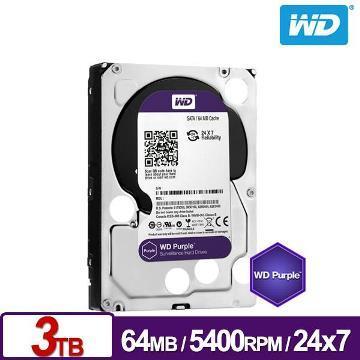 WD威騰 3.5吋 3TB SATA監控系統硬碟 紫標