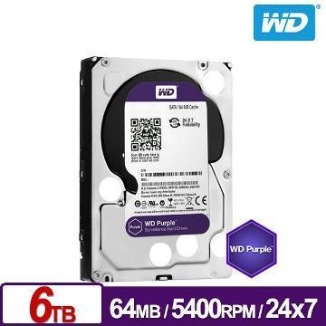 WD威騰 3.5吋 6TB SATA監控系統硬碟 紫標