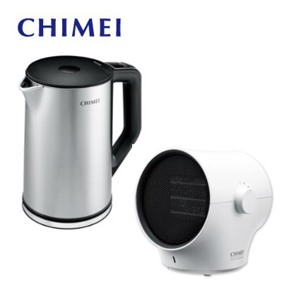 CHIMEI 枝椏陶瓷電暖器(白) + 1.5L溫控不鏽鋼快煮壺
