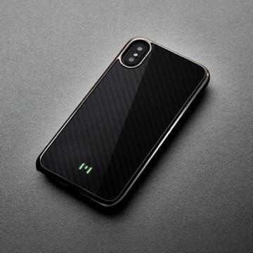 【iPhone X】monCarbone 鍍鉻款纖維殼 - 午夜黑