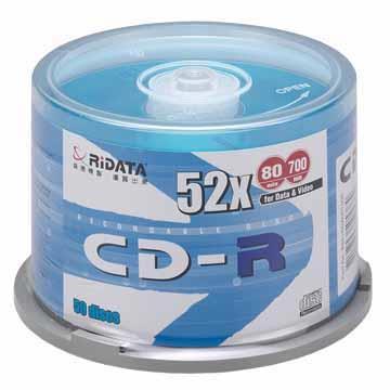 RIDATA光碟片 52X CD-R/50片桶裝