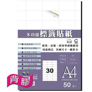 艷彩3合1多功能自黏標籤貼紙30格/50張/包